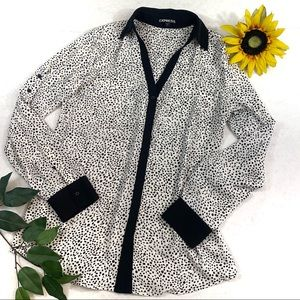 Express Rolled Sleeve Button Down Blouse Dots aa6